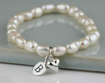 Personalised Freshwater Pearl Bracelet with Solid Silver or Gold Petite Heart Charm