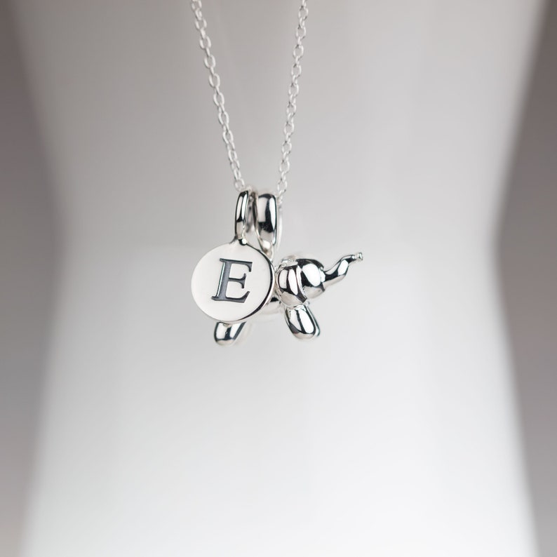 Personalised Solid Silver Balloon Elephant Pendant