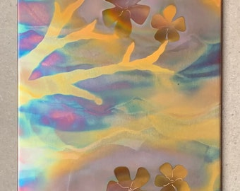 """Cherry Blossoms, 7.5"""" x 15"""", Copper Fire Painting"""