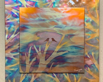 """Love Birds, 16"""" square double layer (hammered copper background), Copper Fire Painting"""