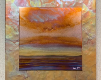 """Landscape on yellow, 16"""" square double layer (hammered copper background), Copper Fire Painting"""
