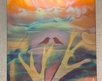 """Love Birds, 7.5"""" square, Copper Fire Painting"""