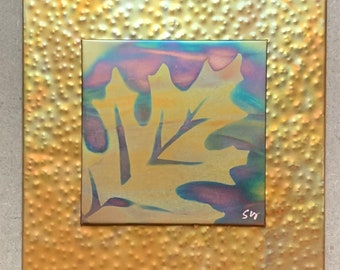 """Oak leaf, 7.5"""" square double layer, Copper Fire Painting"""