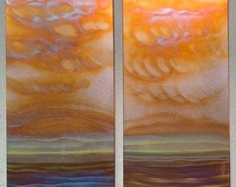 """Landscape Pair, each piece is 7.5"""" x 15"""", Copper Fire Paintings"""
