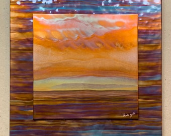 """Landscape on blue, 16"""" square double layer (hammered copper background), Copper Fire Painting"""