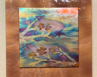 """Cherry blossoms, 16"""" square double layer (hammered copper background), Copper Fire Painting"""