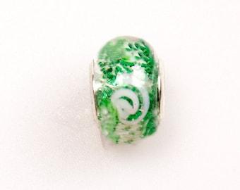 Murano Sparkly Green/White Charm
