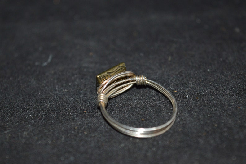 Silver wire ring with bronze charm  size 8  silver  wire ring  bronze  ring  silver ring  jewelry
