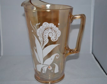 Carnival / Glass / gold / pitcher / white fern / design / heavy / glass pitcher / Carnival glass / Carnival glass pitcher / yellow / fern