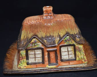 Cheese plate / house / brown / Price Bros. / England / 1900s / cheese house / cheese / made in England / butter dish / vintage serving dish