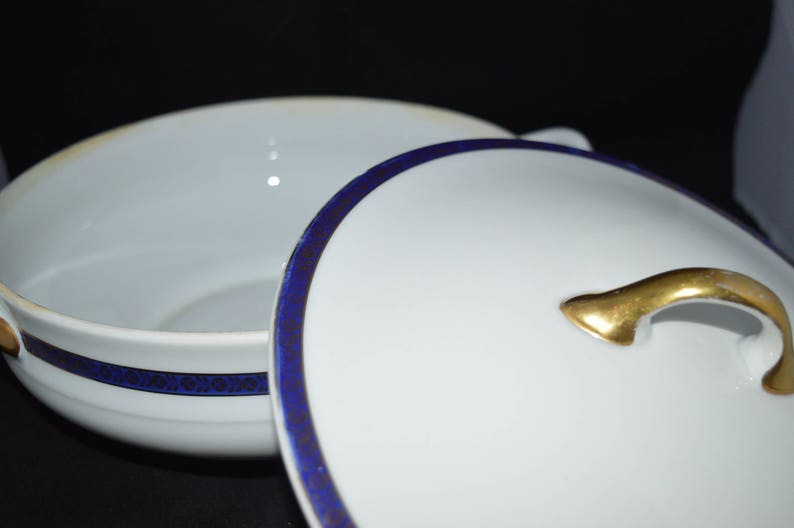 white  cobalt  bowls  blue trim  gold trim  serving Altman /& Co Covered serving bowls  oval bowl  round bowl  Cechoslovakia  B