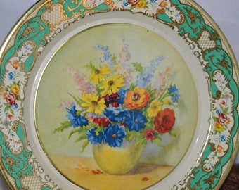 Daher Decorated Ware / floral tin plate / tin plate / tin / vase of flowers / Holland / 8 inch / flowers / wall hanging / Daher / plate
