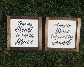"""Framed 8.75"""" square hymn sign Amazing Grace, Come Thou Fount or It Is Well"""