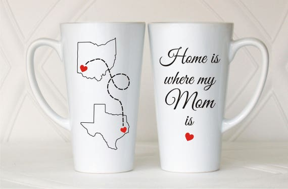 Long Distance Mom Mug Home Is Where My Mom Is Mothers Etsy