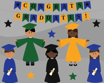 Graduation Kids Digital Clip Art, Elementary School Graduation Clipart, Preschool Clipart, Kindergarten Clipart, Teacher clipart, Diploma