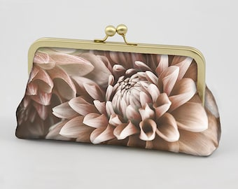 Clutch Bag - Dahlias - My Original Design/Photo Printed on Dupion Silk  - Clutch Bag Lining Can be Personalized with Your Photo or Text