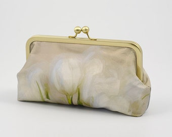 Clutch Bag - White Tulips - My Original Design Printed on Dupion Silk - Clutch Bag Lining Can be Personalized with Your Photo or Text