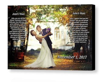 Custom Wedding Photo With Vows  - 16x20 Giclée Print on Canvas with Gallery Wrap - Personalized Wedding Gift - Made in USA
