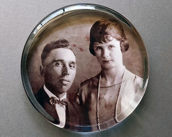 Custom Vintage or Heritage Photo Paperweight, Your Photo Displayed in a Round Shaped Handcrafted Glass Paperweight, Personalized Gift