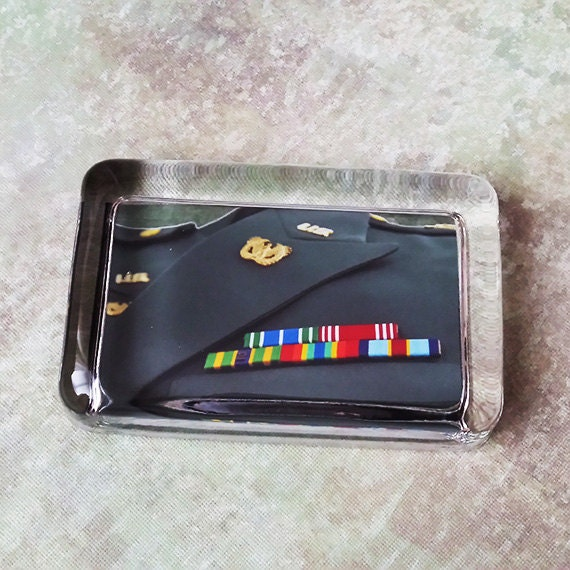 Custom Military Glass Paperweight, Photo of Insignia, Ribbons & Badges Displayed in a Glass Paperweight, Gift for Military Personnel