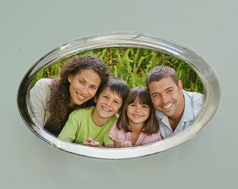 Custom Photo Paperweight For Mom or Dad, Your Photo Displayed in a Oval Shaped Handcrafted Glass Paperweight, Personalized Gift