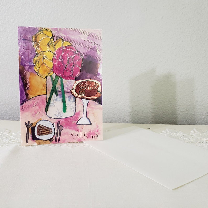 5x7 Folded Greeting Card with Envelope Whimsical Art with Message of Love Embellished with Glitter Whimsical Anniversary Card
