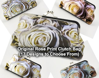 Clutch Bag - My Original Rose Design with 16 Additional Design Variations Printed on Silk -  Personalize by Adding Your Photo to Lining