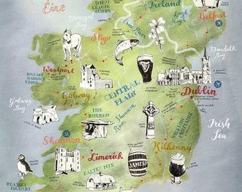 Large Print Ireland Map, Ireland poster, large Ireland art, Saint Patricks Day decor, illustrated map, Irish map, travel map, farewell gift