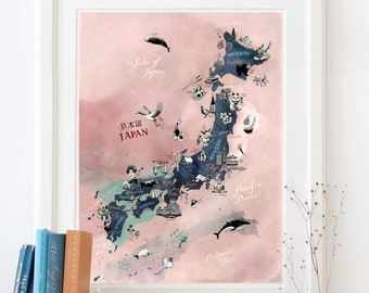 Japan Map, Japan Art Print, illustrated map of Japan, travel illustration poster, farewell gift, Japanese giclee print, living room art, new