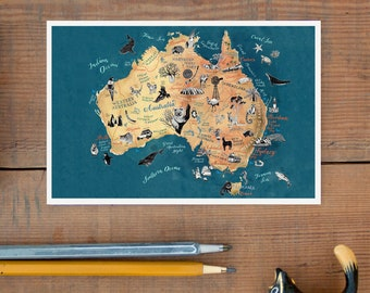 Australia Postcard, hand drawn travel map, illustrated postcard, Aussie art, outback road trip, going away gift, greeting card, postcrossing