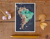 South America Postcard, hand drawn travel map, illustrated postcard of Latin America, gift card, road trip art, greeting card, postcrossing
