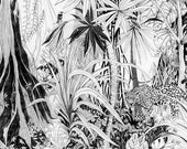 Jungle drawing, Fine Art Print, tropical decor, rainforest illustration, tree print, jungle picture, tropical wall art, black white poster
