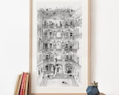 Budapest House Illustration, Panoramic Art Print, pencil drawing, Hungary poster, large art, black and white archival art print