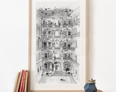 Budapest House Illustration, Panoramic Art Print, pencil drawing, Hungary poster, large living room art, black and white archival art print