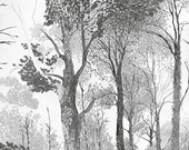 Tree drawing, Woodland Print, forest tree art print, beautiful pencil illustration, nature art, black & white, Nordic Art, Scandinavian Art