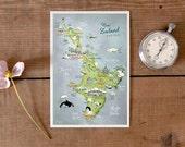Postcard New Zealand, North Island, hand drawn map, pretty illustrated postcard, illustrated map, farewell card, travel memory, German Shop