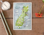 Postcard New Zealand, South Island, hand drawn map, pretty illustrated postcard, illustrated road trip going away travel memory, German Shop