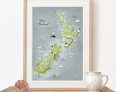 Large Art New Zealand, New Zealand Map, Aotearoa, Giclee Print, New Zealand Poster, travel illustration, farewell gift, in green, blue, red