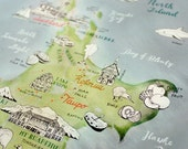 New Zealand Map, illustrated Map Art, Aotearoa, New Zealand large art, NZ Giclee Print, New Zealand Poster, travel illustration, New Shop