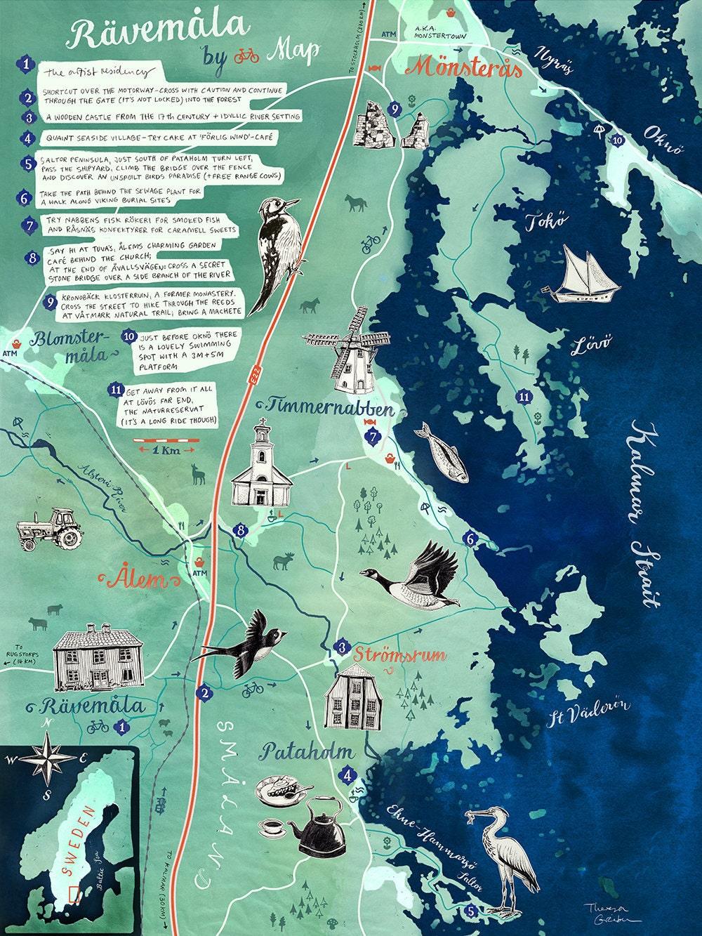 Karte Neuseeland Südinsel Zum Ausdrucken.Illustrierte Karte Rävamåla Schweden Småland Druck Schweden Poster Schweden Reise Illustration Abschiedsgeschenk Schweden Reise Souvenir