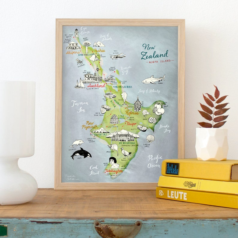 New Zealand Map of North Island Giclee Art Print lovely 30 x 40 cm