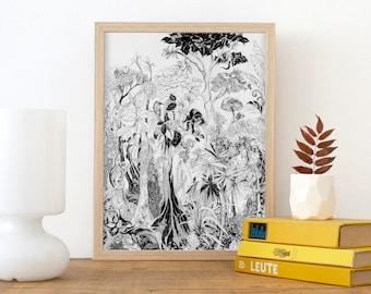 Jungle drawing, Fine Art Print, tropical decor, rainforest illustration, tree print, jungle picture, tropical wall art, black white poster