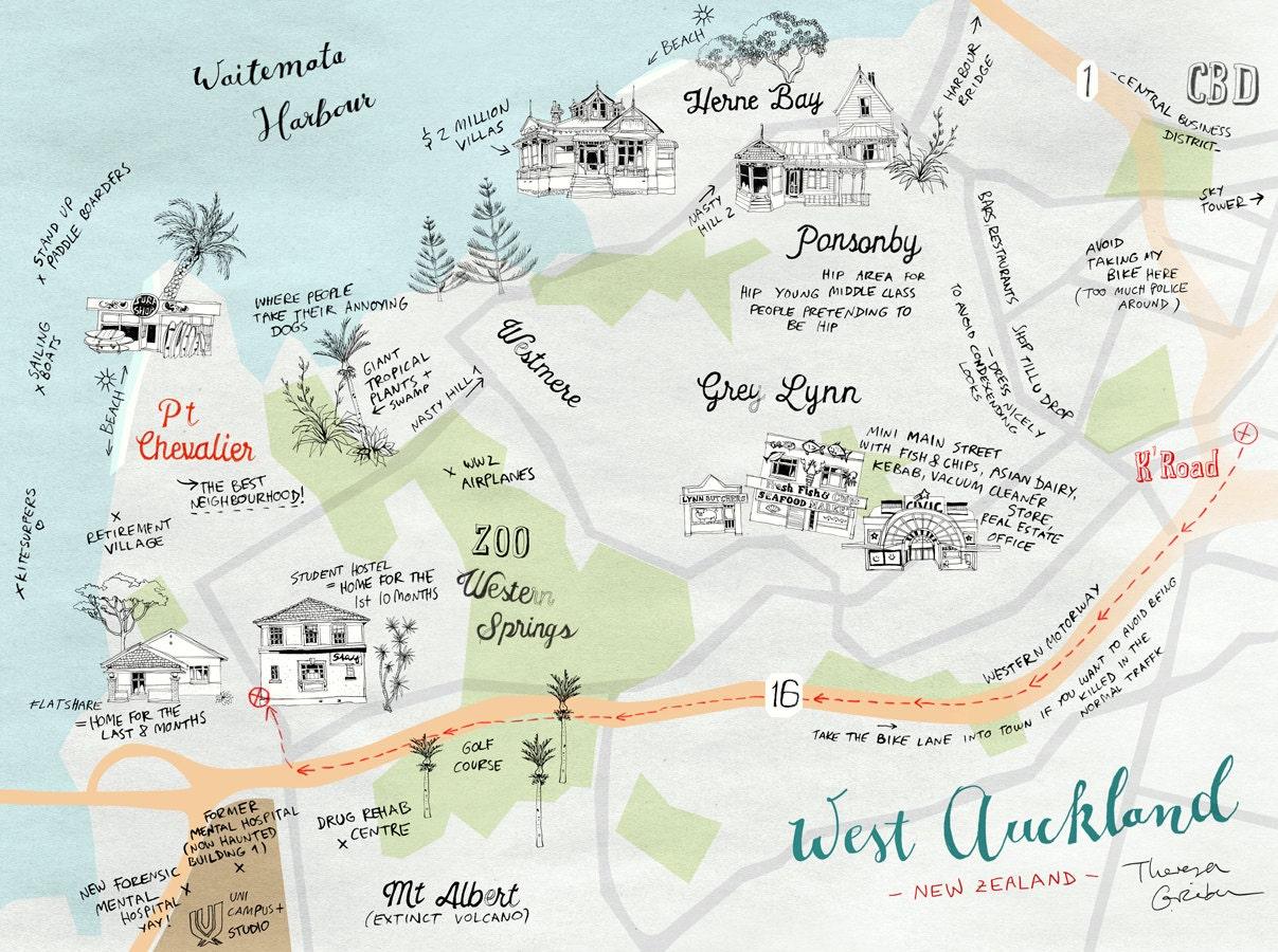 Karte Neuseeland Südinsel Zum Ausdrucken.Karte Von West Auckland Neuseeland Bild Kunstdruck Farbenfroh Illustrierter Auckland Stadtplan In Blau Grün Orange Rot Neuer Shop