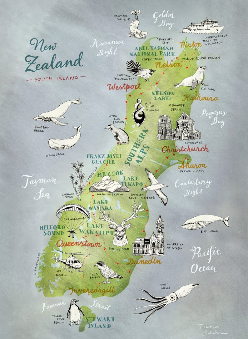 South Island Map Of New Zealand.Large Print New Zealand Map Of South Island Large Nz Print New Zealand Poster Nz Art Kiwiana Large Travel Illustration Nz Farewell Gift