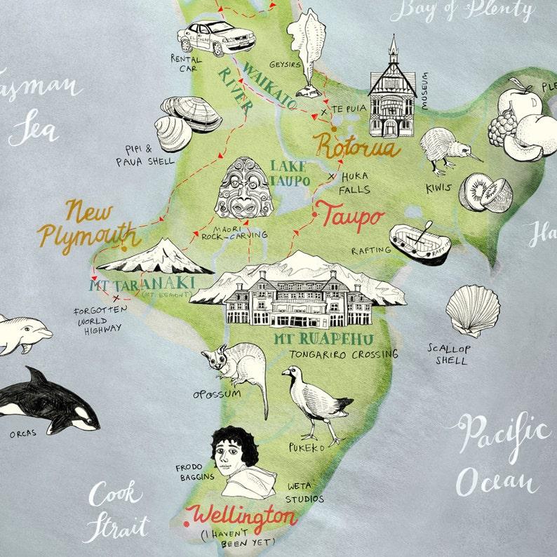 Karte Neuseeland Südinsel Zum Ausdrucken.Illustrierte Landkarte Neuseeland Nordinsel Giclee Druck Neuseeland Poster Detaillierte Reise Illustration Abschiedsgeschenk Reise Neu