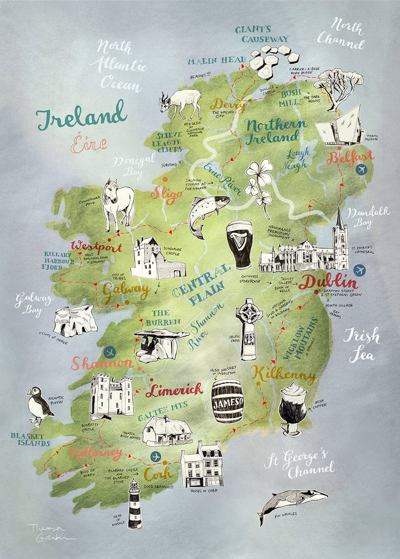 Map Of Ireland With Islands.Large Print Ireland Map Ireland Poster Large Ireland Art Saint Patricks Day Decor Illustrated Map Irish Map Travel Map Farewell Gift