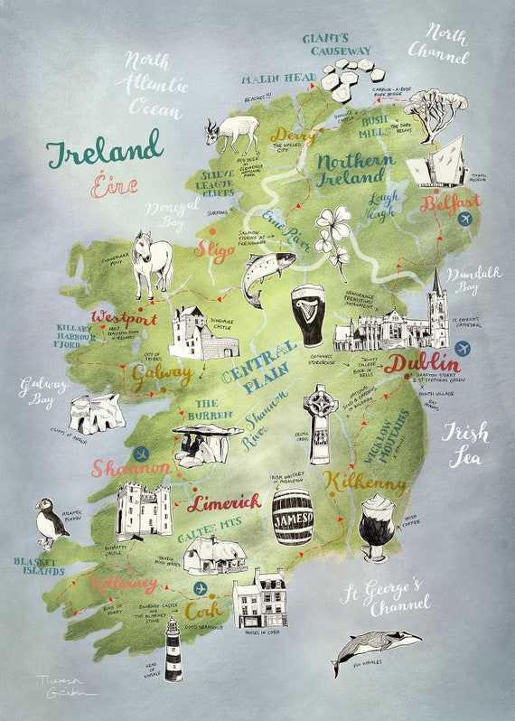 irland karte drucken Große Illustrierte Karte Irland großer Druck Irland Poster | Etsy