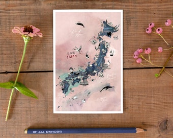 Japan Postcard, hand drawn travel map card, illustrated postcard of Japan, gift card, road trip art, Japanese greeting card, postcrossing