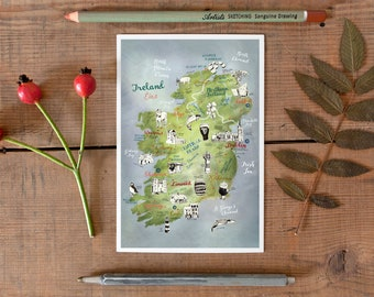 Ireland Postcard, hand drawn map, illustrated postcard, Irish art, map art, road trip map, going away gift, Irish travel map, postcrossing