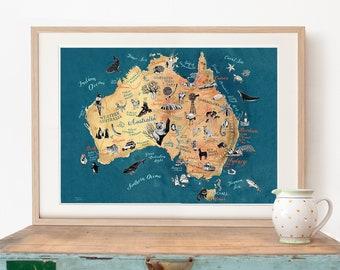 Australia Map, large size Australian Art Print, illustrated map, Aussie travel illustration poster, gift, giclee print, living room art,new